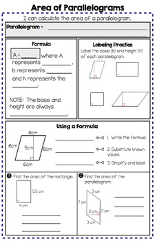 Area of Parallelograms, Triangles, and Trapezoids - Notes and Practice