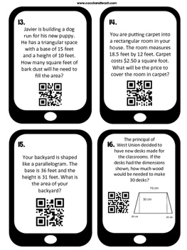 Area of Parallelograms, Triangles, and Trapezoids QR Code Task Cards