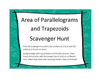 Area of Parallelograms and Trapezoids Scavenger Hunt