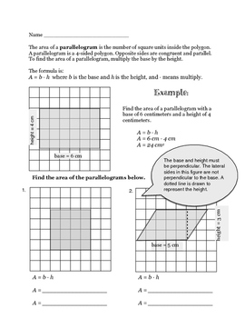 Area of Parallelograms and Triangles 6.G.A.1