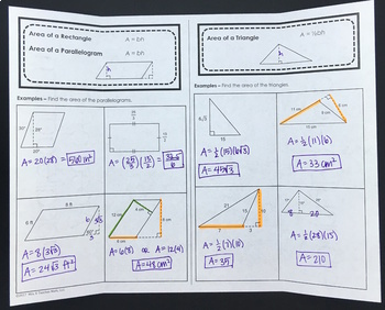 Area of Parallelograms and Triangles Foldable