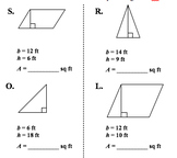 Area of Parallelograms and Triangles Quiz/Homework