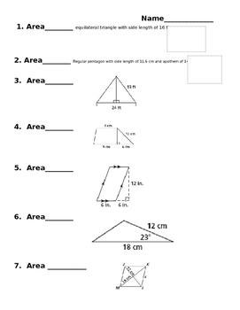 Area of Polygons - 10 questions