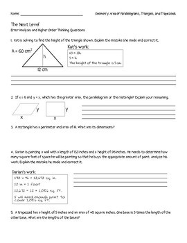 Area of Polygons: Error Analysis and Higher Order Thinking Questions