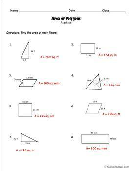 Area of Polygons Guided Notes and Practice