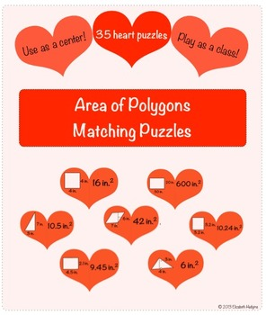 Area of Polygons Heart Puzzles