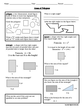 Area of Polygons: Rectangles and Squares with Answer Sheet