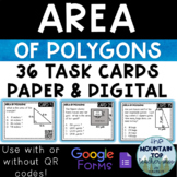 Area of Polygons Task Cards--PAPER & DIGITAL VERSIONS