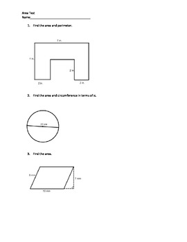Area of polygons assessment teaching resources teachers pay teachers geometry area of polygons test geometry area of polygons test fandeluxe Choice Image