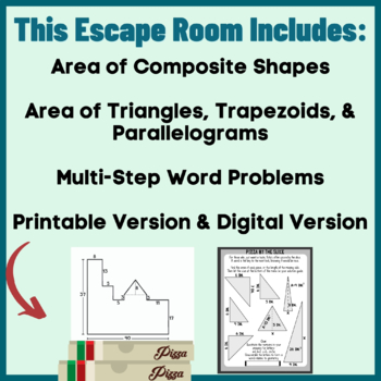 Area of Polygons and Composite Shapes Sixth Grade Math-Geometry Escape Room