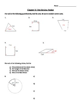 Area of Quadrilaterals & Circles Review