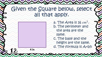 Area of Quadrilaterals Task Cards