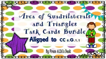 Area of Quadrilaterals and Triangles Task Cards Bundle