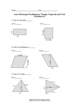 area of rectangle parallelogram triangle trapezoid and circle worksheet 2. Black Bedroom Furniture Sets. Home Design Ideas