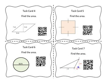 Area of Rectangle, Square, Triangle Circle Task Cards with QR Codes