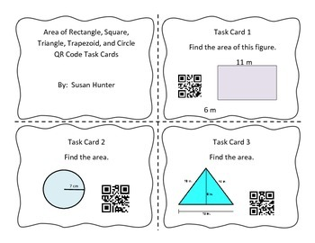 Area of Rectangle, Square, Triangle Circle Task Cards with