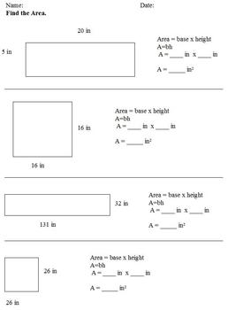 Area of Rectangle &Triangle with Formula; Special Ed; Diff