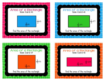 Area of Rectangles with Fractional Side Lengths Task Cards