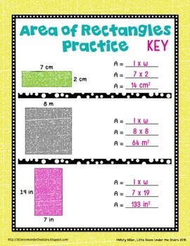 Area of Rectangles Digital Interactive Notebook Google Drive