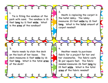 Area of Rectangles - Double Digits - Differentiated Word Problem Task Cards