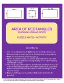 Area of Rectangles: Find Missing Side Puzzle Sort Activity