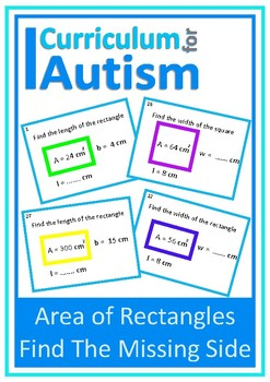 Area of Rectangles Find the Missing Side Autism Special Education