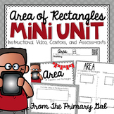 Area of Rectangles {Instructional Video, Task Cards, Centers, & Assessments}