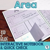 Area of Rectangles Interactive Notebook Activity & Quick Check TEKS 3.6C