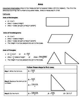 Area of Rectangles, Parallelograms, and Triangles