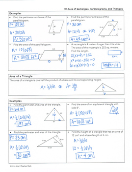 Area of Rectangles, Parallelograms, and Triangles Lesson