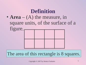 Common Core 4th - Area of Rectangles & Squares