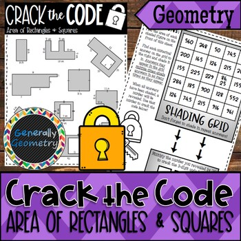 Area of Rectangles & Squares Crack the Code Worksheet; Geometry