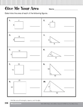 Area of Rectangles, Squares, and Triangles