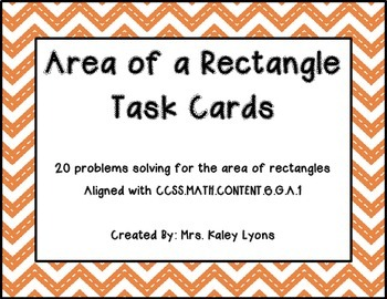 Area of Rectangles Task Cards with QR Codes
