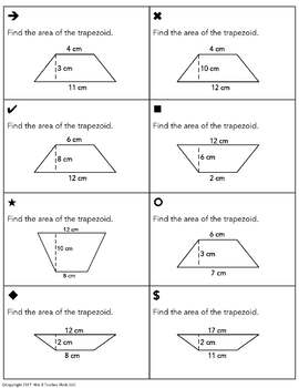 Area of Rectangles Triangles Parallelograms and Trapezoids Sum Em Activity