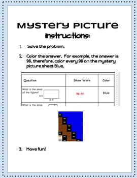 Area of Rectangles and Parallelograms Mystery Picture