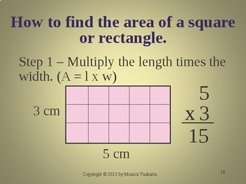 Common Core 3rd - Area of Rectangles and Squares