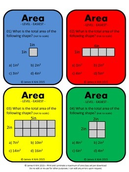 Area of Rectangles and Squares Activity Task Cards (Imperial)