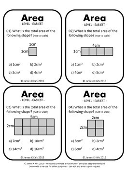 Area of Rectangles and Squares Activity Task Cards (Metric)