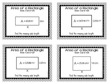 Area of Rectangles with Decimal Side Lengths Task Cards