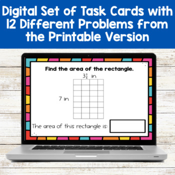 Area of Rectangles with Fractional Side Lengths Differentiated Task Cards