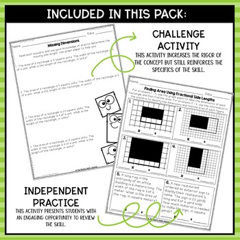 Area of Rectangles with Fractional Sides- Math Center Activity and Printables