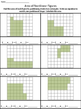 Area of Rectilinear Figures (with unit squares) Worksheet 1