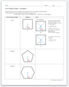 Area of Regular Polygons Investigation