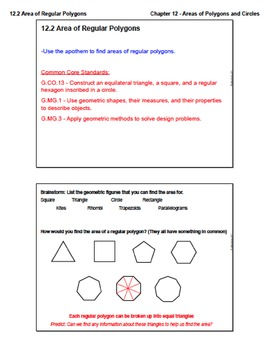 Area of Regular Polygons (Lesson with Homework)