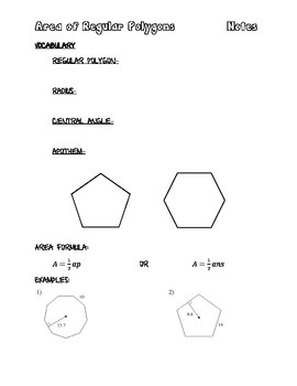 Area of Regular Polygons Notes