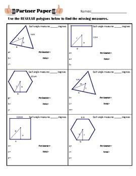 Area of Regular Polygons Partner Paper