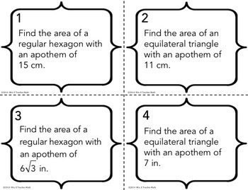 Area of Regular Polygons Task Cards
