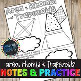 Area of Rhombi & Trapezoids Doodle Guide & Practice Worksheet; Geometry