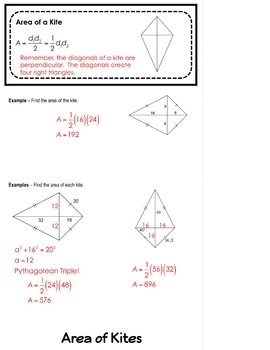 Area of Rhombuses Trapezoids and Kites Flipbook
